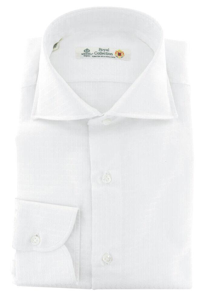 Luigi Borrelli Weiß Solide Baumwollhemd - Extra Schmal - (313)
