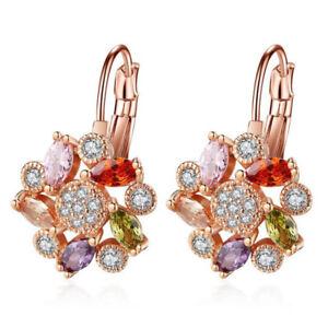 Holiday-Gift-Morganite-Amethyst-Garnet-Rose-Gold-Plated-Flower-Stud-Earrings