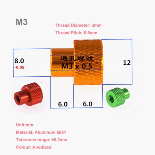 M3//3.5//4*Kopf Ø12mm Aluminium Alloy Rändelmutter Knurled Hand Twist Mutter Nuts