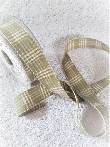 Various lengths Berisfords RUSTIC PLAID Ribbon Tartan 40mm 6 shades with gold