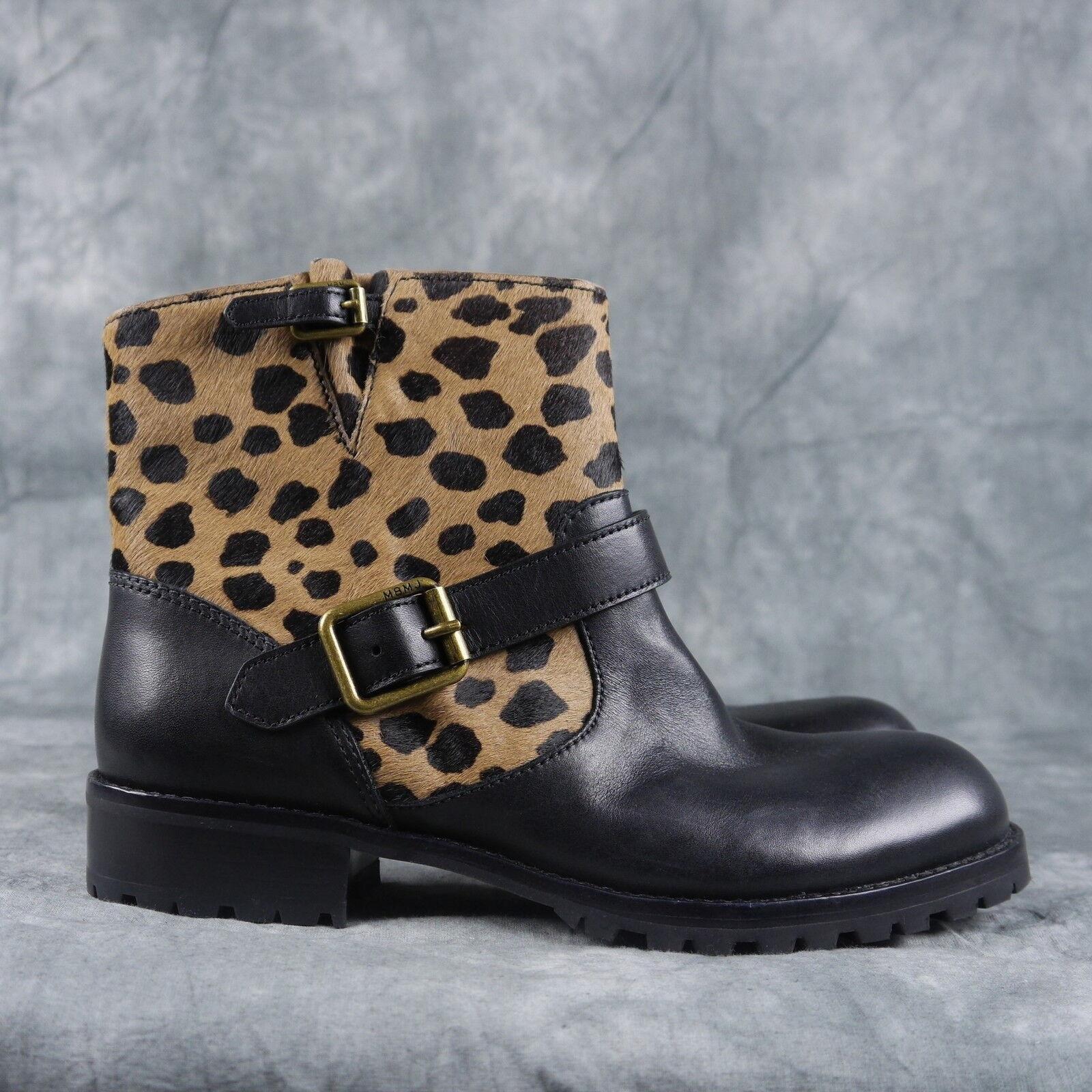 Marc Jacobs mbmj Clásico Clásico Clásico Tobillo botas Talla 38.5  398 Negro Cuero animal Print ANB  descuento