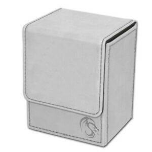 WHITE BCW Deck Case Box LX Leatherette Strong Magnetic Closure (Holds 80 cards)