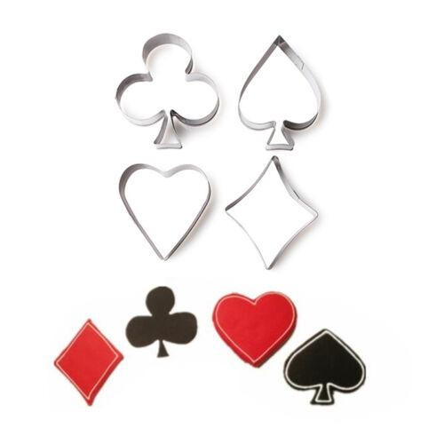 Delidge 4teile//satz Poker Cookie Edelstahl Spielen Kuchen Fondant Mold Spaten  Z