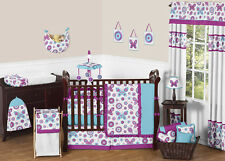 Flower Garden Butterfly Purple Turquoise and White Girl Baby Bedding 9p Crib Set