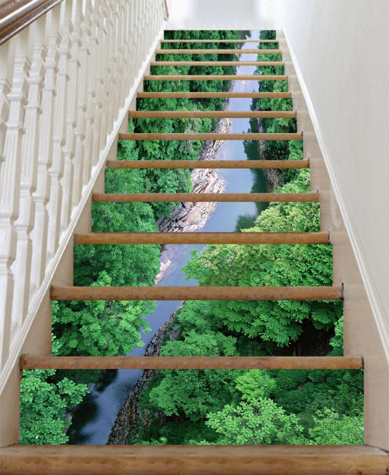 3D Wald Fluss 323 Stair Risers Dekoration Fototapete Vinyl Aufkleber Tapete DE