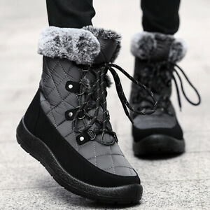 Womens Lace Up Mid Calf Snow Boots Winter Warm Flats Military Casual Shoes Size