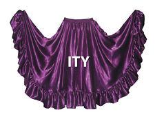 Satin 12 Yard Flamenco Skirt Belly Dance Gypsy Tribal Ruffle Costume Jupe ATS