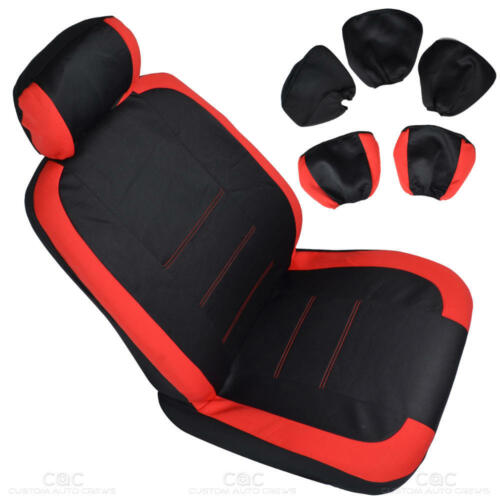 Accent Design w// Floor Mats SUV Car Red on Flat Black Cloth Car Seat Covers