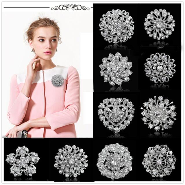 Bridal Wedding Bouquet Shine Rhinestone Crystal Flower Silver Charm Brooch Pin #