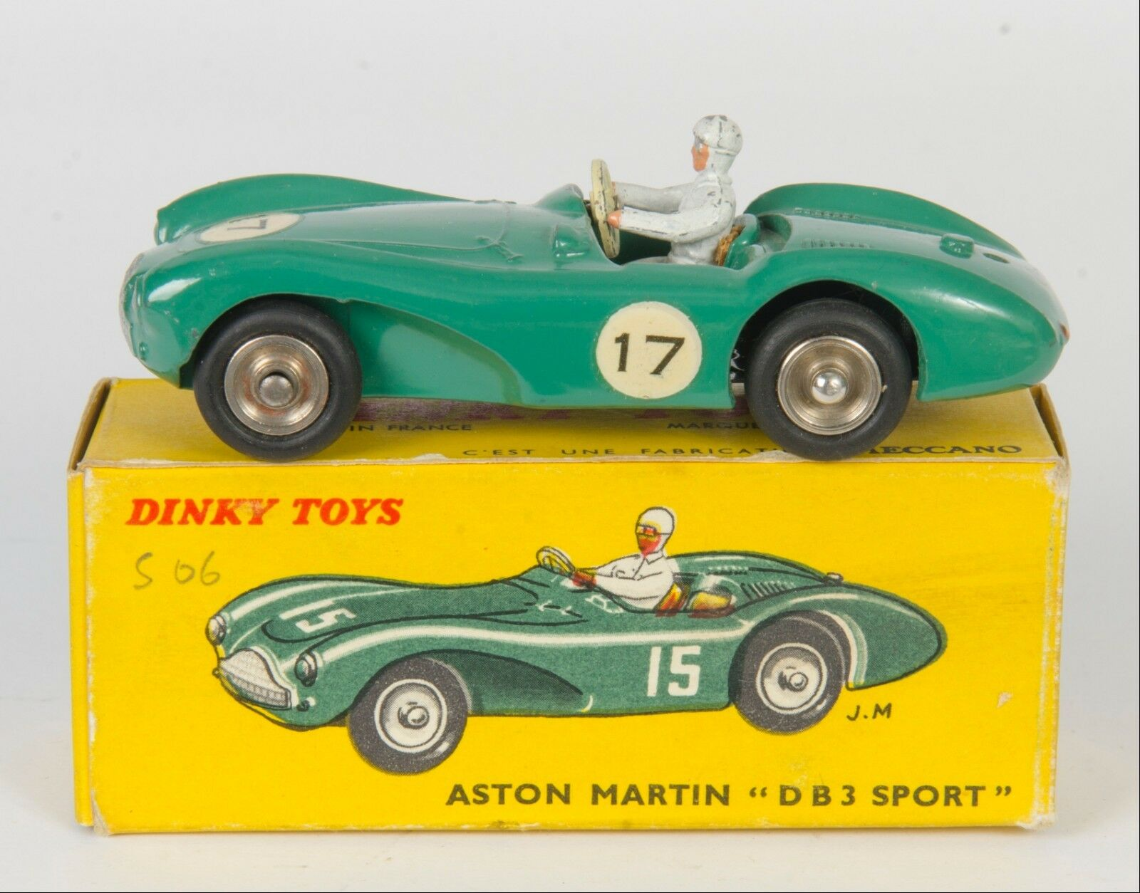 French Dinky 506 Aston Martin DB3 Sport. Green. Near-Mint Boxed. 1960