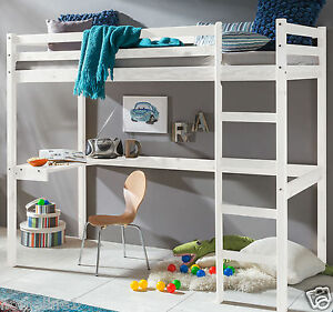 kinderbett hochbett mit tisch leiter hochbett spielbett kiefer massiv weiss bett ebay. Black Bedroom Furniture Sets. Home Design Ideas