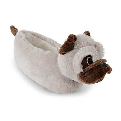 Slumberzzz Kids Soft Plush 3D Pug Dog Slippers