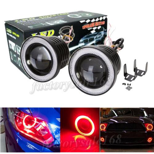 2x High Power Car 3 INCH Projector LED Fog Light w// Red COB Halo Angel Eye Rings