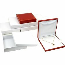 6 Red Faux Leather Necklace Pendant Box Jewelry Display