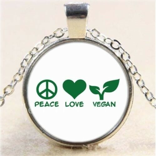 "PEACE VEGAN GREEN HEALTH pendant Silver 18/"" Necklace men women FREE $10 GIFT"