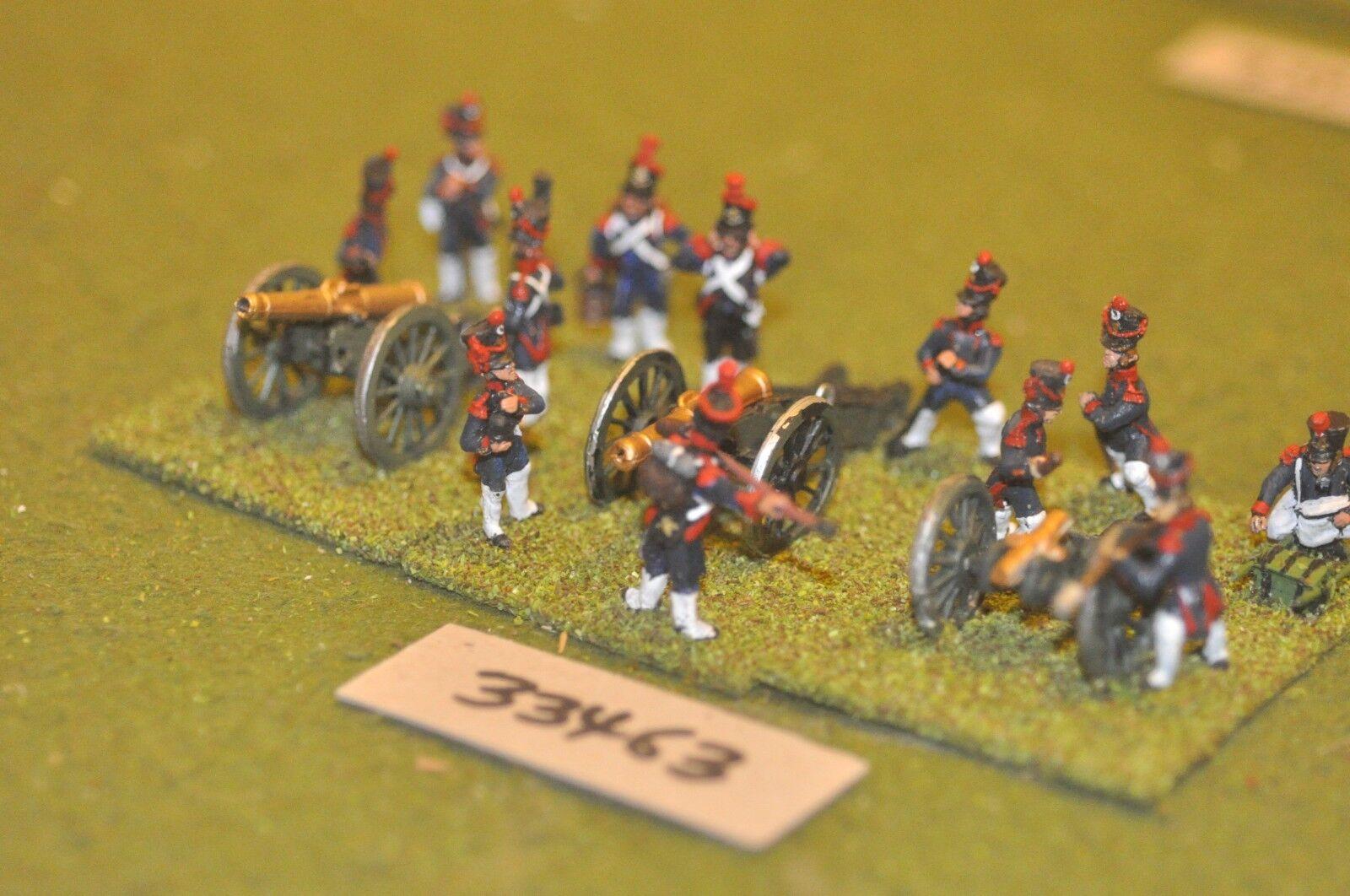 25mm napoleónicas francés pies 3 armas & tripulaciones-Art (33463)