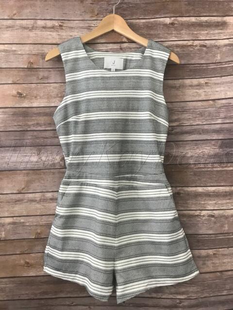 J by J.O.A Women's Striped Romper short Overlapped Back Black White Size Medium
