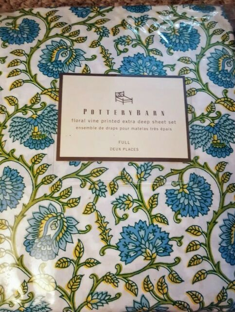 New Pottery Barn Floral Vine Full Sheets Deep Pockets Blue