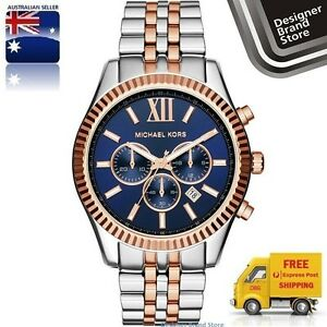 New-Michael-Kors-Watch-Lexington-Oversized-Silver-amp-Rose-Gold-Blue-Dial-MK8412