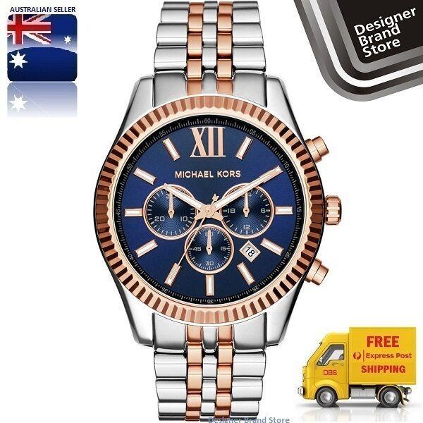 New Michael Kors Watch Lexington Oversized Silver & Rose Gold Blue Dial MK8412