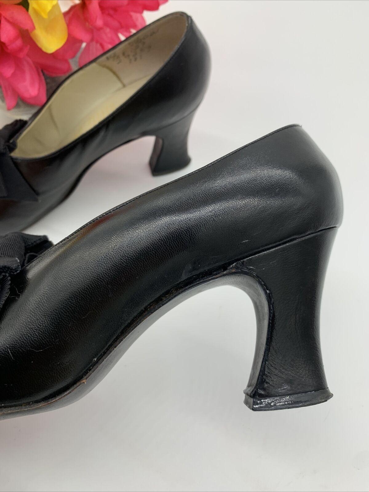 Antique Edwardian Bonwit Teller Black Leather Sho… - image 4