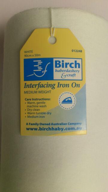 BIRCH WHITE IRON ON  INTERFACING: MEDIUM WEIGHT