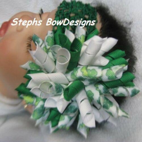 St Saint Patricks Day Round Korker Hair Bow Soft Headband Fits Preemie 2 Adult