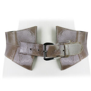 Oscar-de-la-Renta-Putty-Grey-Crackled-Patent-Leather-Waist-Belt-S-IT40-UK8