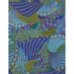 Timeless Treasures Fabrics Stellar Starburst Metallics Peacock Plume Collage