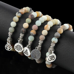 3D-OM-Lotus-Matte-Amazonite-Stone-Strand-Bracelets-Chakra-Mala-Women-Bracelets