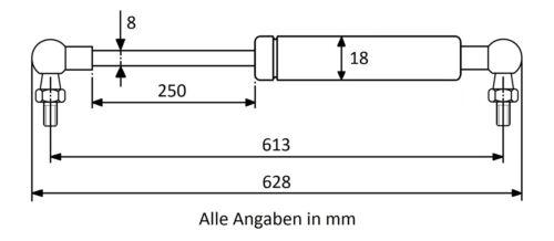 Länge Ausschubkraft wählbar Gasdruckdämpfer Gasdruckfeder mit Kugelgelenk M6