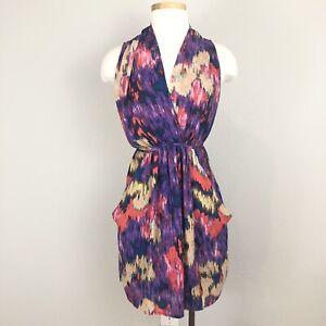 Aqua-Womens-Purple-Printed-Deep-V-Sleeveless-Dress-S-Small