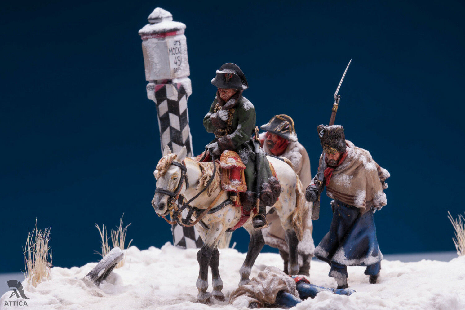 Withdrawing of Napoleon from Russland Retreat 54mm Tin Painted Toy Soldier   Art