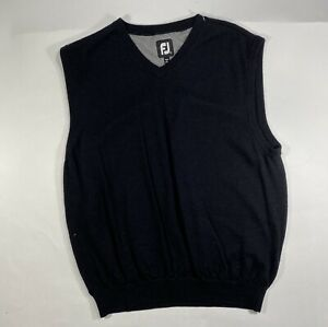 FootJoy-Mens-Wool-Black-V-Neck-Pullover-Golf-Logo-Sweater-Vest-Sleeveless-Sz-L