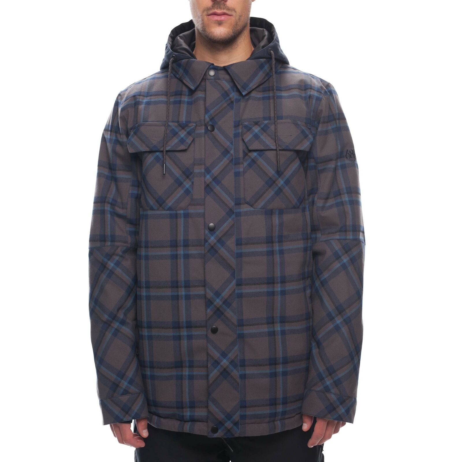 686 Mens Woodland Insulated Ski Snowboard Jacket Charcoal Yarn Dye Plaid
