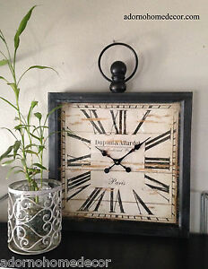 Large Metal Square Wall Clock Paris Rustic Decor
