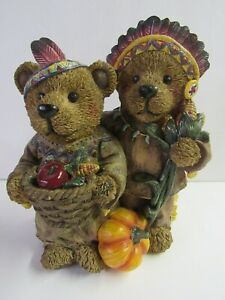 Thanksgiving Bears Dressed As Indians Figurine