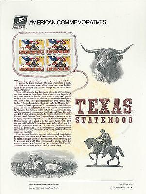 # 2968 TEXAS STATEHOOD  1995 Commemorative Panel