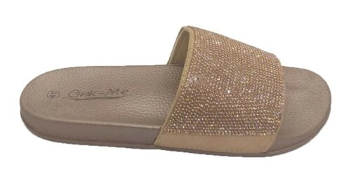 Womens Ladies BIG SIZES Slip On Slipper Sliders Dimante Sparkly Sandals Shoes