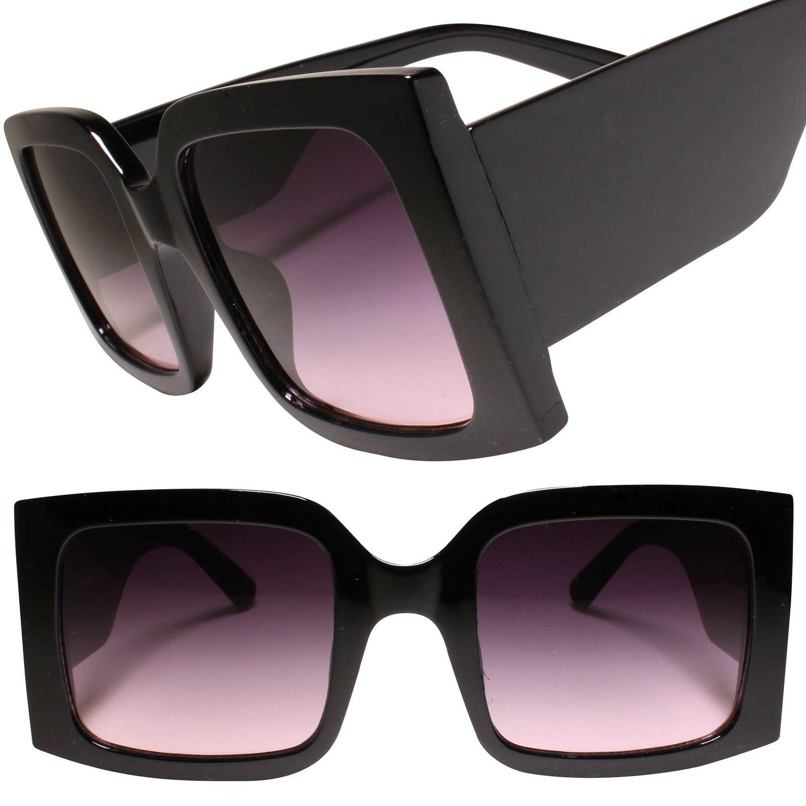 Classy Retro Oversized Exaggerated Womens Thick Frame Black Square Sunglasses
