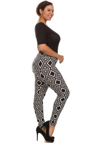 Womens Plus 1X//2X,3X//4X Black /& White Tribal Print Elastic Waist Leggings!