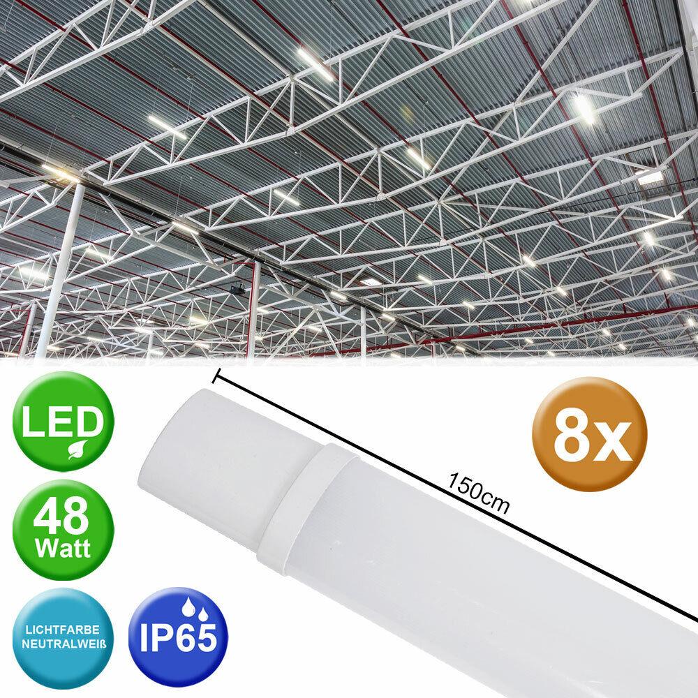 8x LED Wannen Lampen Garagen Werkstatt Lager Hallen Decken Leuchten Ultraslim