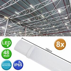 8er-Set-LED-Plafond-Luminaires-Industrie-Salles-Baignoires-Lampes-Atelier