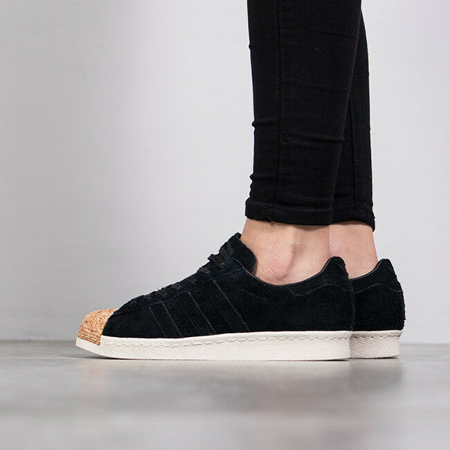 Adidas Unisex Superstar 80S Black Suede Cork Toe Trainers shoes Velvet UK 6.5