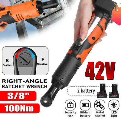 45NM 380RPM Cordless Electric 90° Right Angle Ratchet Wrench 12V 3//8 w//Battery