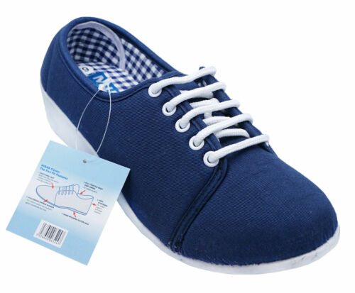 LADIES NAVY LACE-UP LOW WEDGE CANVAS COMFY PUMPS CASUAL SUMMER SHOES SIZE 6