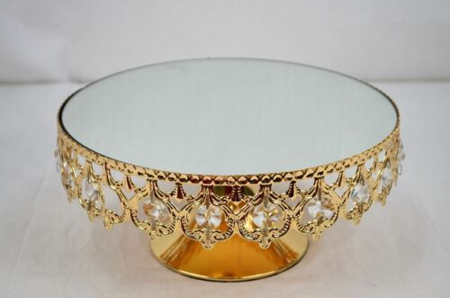 CRYSTAL BEAD CAKE PLATE MIRROR TOP CHAMPAGNE COLOUR