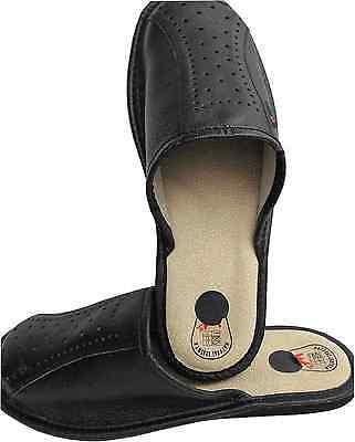 Hausschuhe Latschen Pantolette Gr.45 Echt LEDER, Schwarz (13-10-2-57)