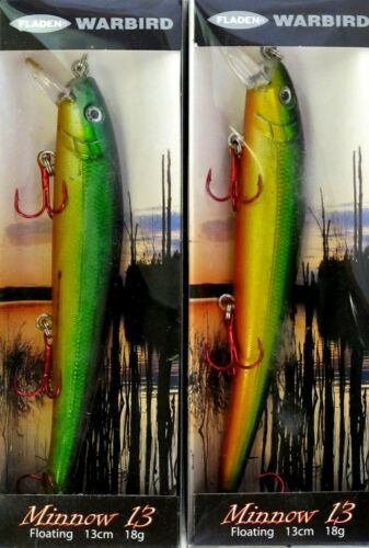 2 x Fladen Warbird 13cm Minnow 13 Rattler Plug Lure 18g Yellow Orange Green Pike