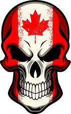 """#314 4"""" USA Canada Canadian Hockey Flag Skull Sticker Decal Maple Leaf"""